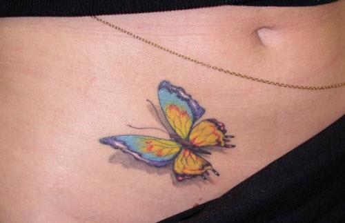 Тату бабочка внизу живота фото - 7
