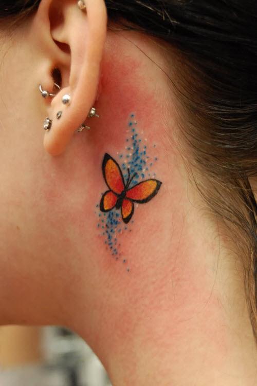 Тату бабочки за ухом фото - 2