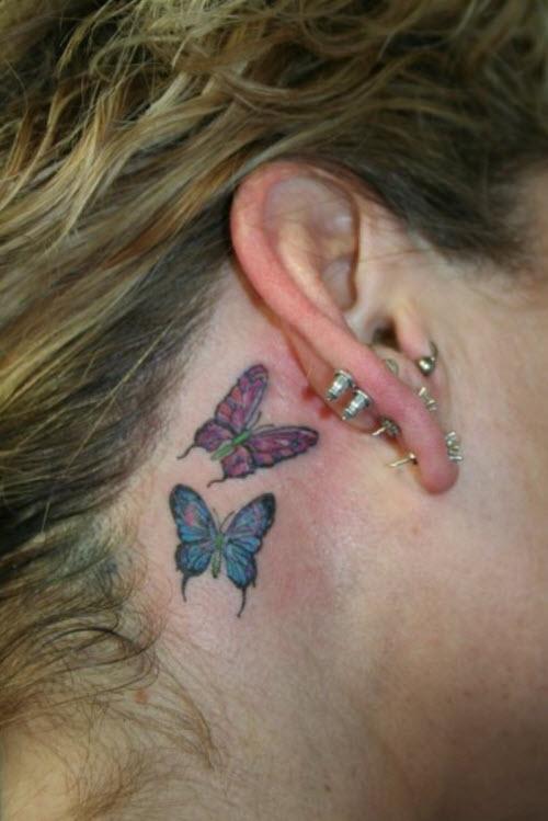 Тату бабочки за ухом фото - 9