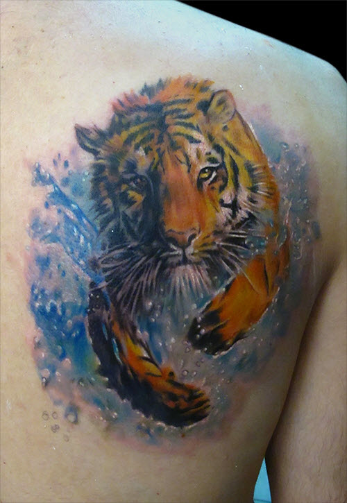 Тату бегущий тигр фото - 4