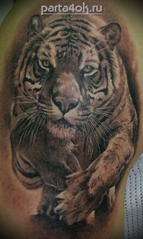 Тату бегущий тигр фото - 6