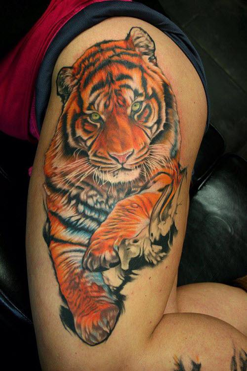 Тату бегущий тигр фото - 8