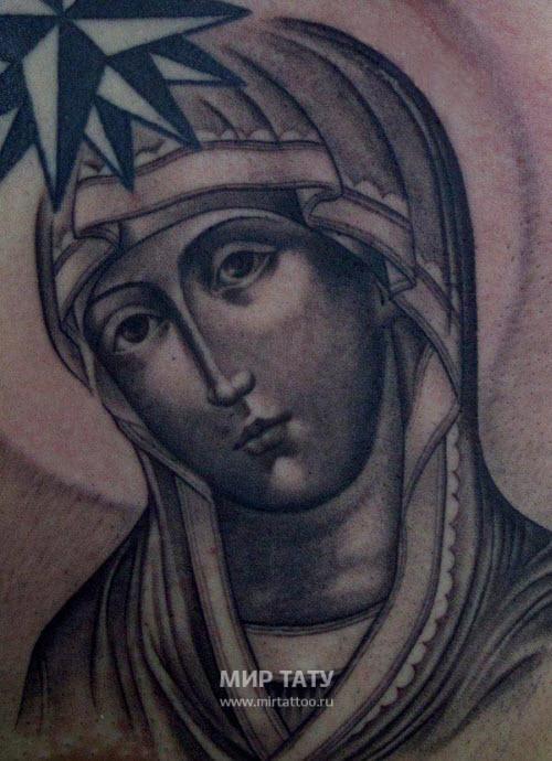 Тату божьей матери на плече фото - 4