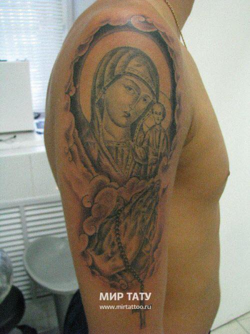 Тату божьей матери на плече фото - 9