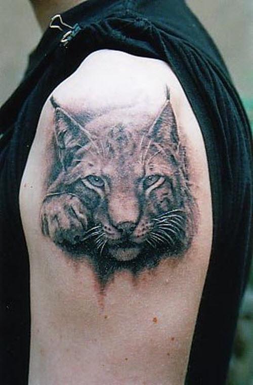 Тату для плеча кошка фото - 8