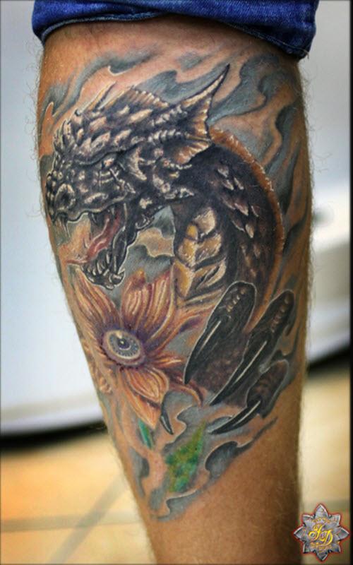 Тату дракона на ноге мужские фото - 9