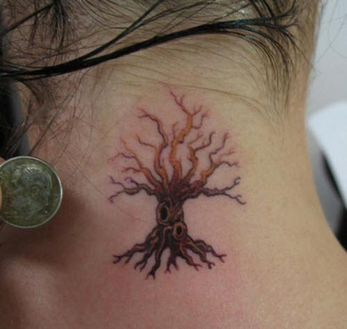 Тату древо жизни на шее фото - 7