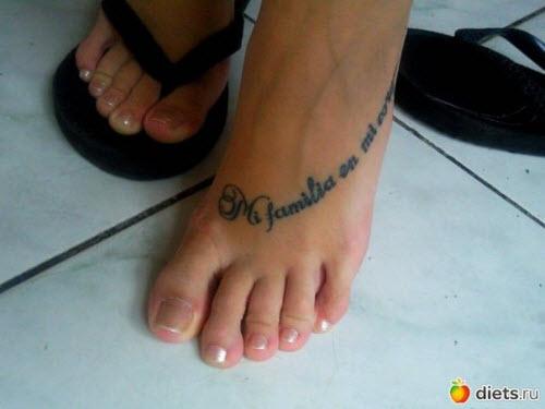 Тату фото женские надписи на ноге - 7
