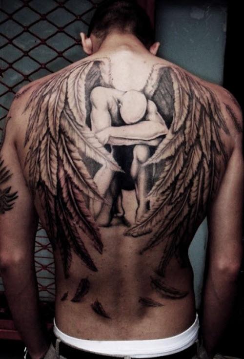 Тату фото на пояснице ангел - 6