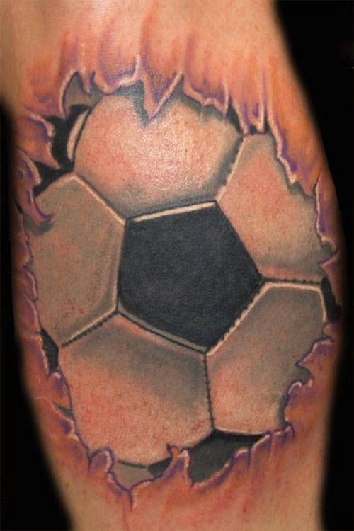 Тату футбольный мяч на ноге фото - 6