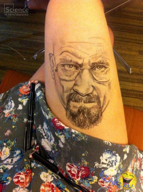 Тату гелевой ручкой на ноге фото - 6