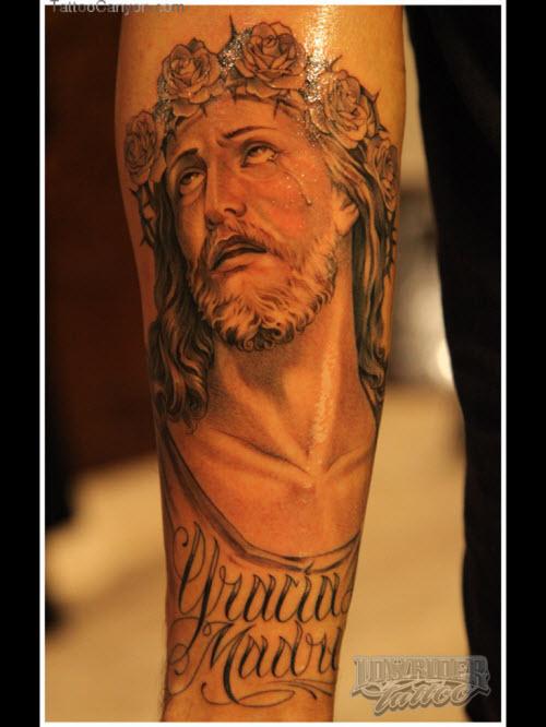 Тату иисус на предплечье фото - 7
