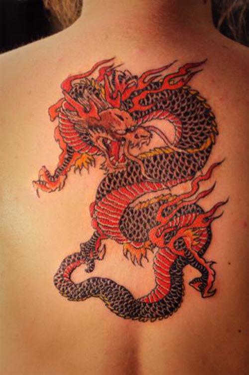 Тату китайского дракона на спине фото - 2