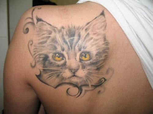 Тату кошки на лопатке фото - 2
