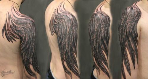 Тату крыло на плече у девушек фото - 8
