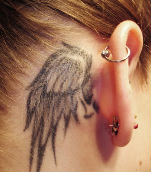 Тату крыло за ухом фото - 4
