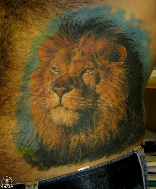 Тату льва на животе фото