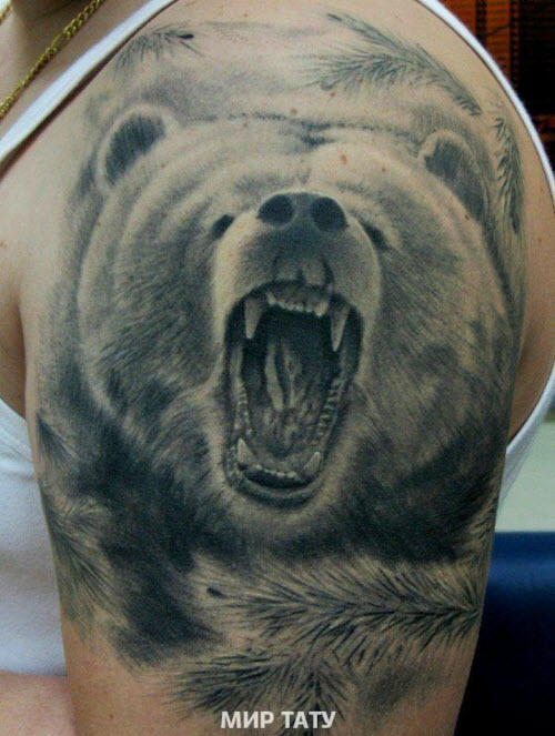 Тату медведь и кольчуга фото - 1