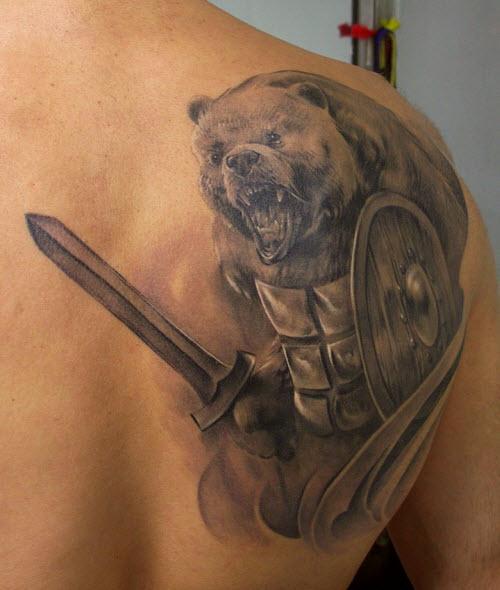 Тату медведь и кольчуга фото - 8