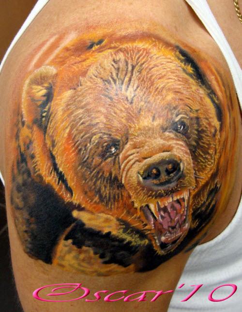 Тату медведь цветное фото - 1