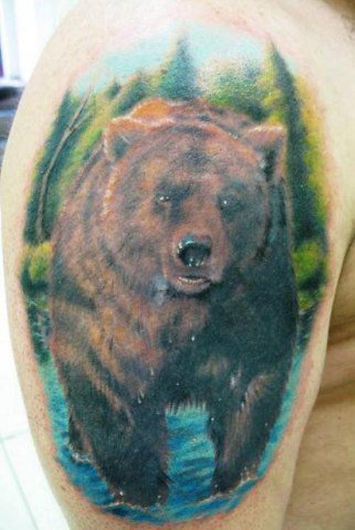 Тату медведь цветное фото - 2