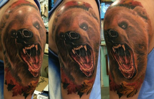 Тату медведь цветное фото - 3