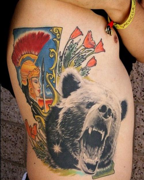 Тату медведь цветное фото - 4