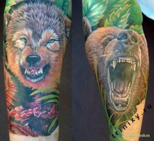 Тату медведь цветное фото - 6