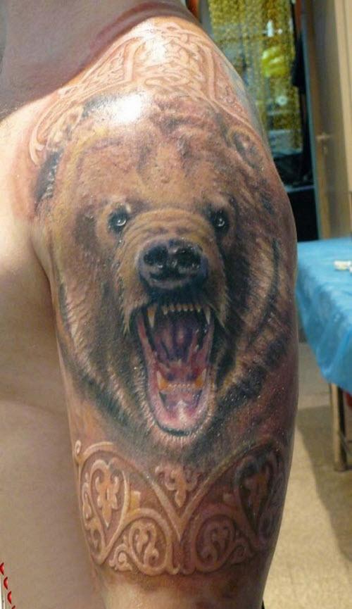 Тату медведь цветное фото - 7