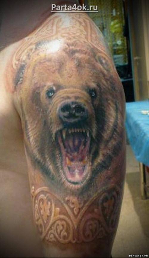 Тату медведь цветное фото - 8