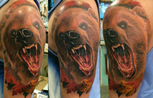 Тату медведь цветное фото - 9