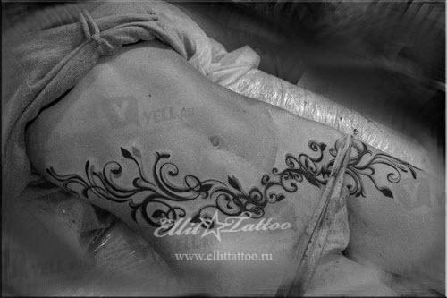 Тату на животе фото женские узоры - 2