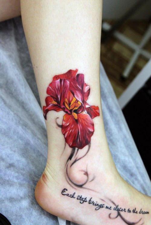 Тату на ноге фото узор цветка - 5