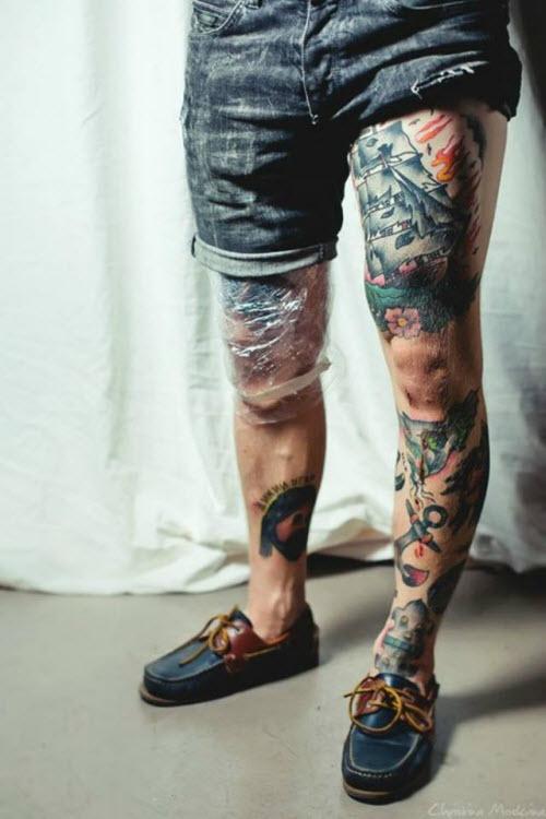 Тату на ногу для мужчин фото - 1