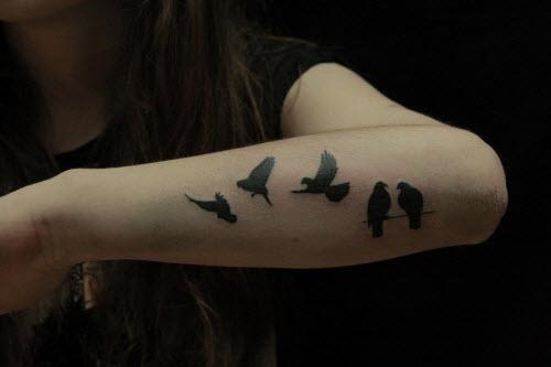 Тату на руке с птичками фото - 1