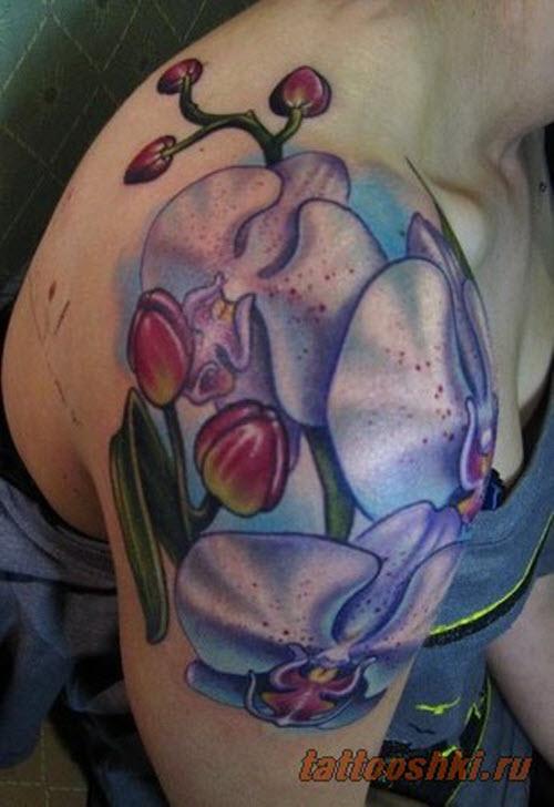 Тату орхидеи фото на бедре - 5