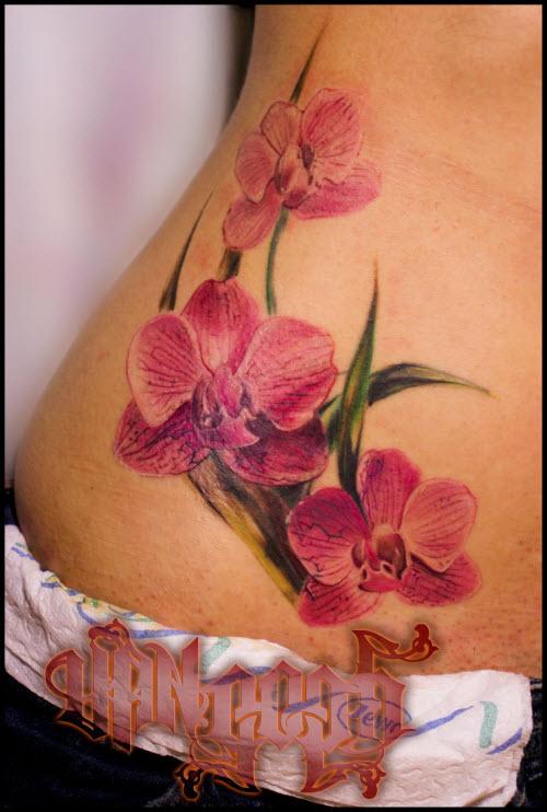 Тату орхидеи фото на бедре - 6