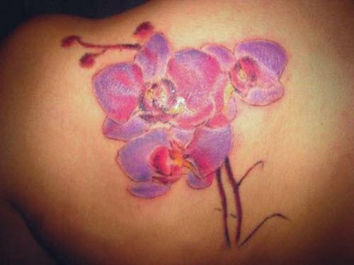 Тату орхидеи на лопатке фото - 6