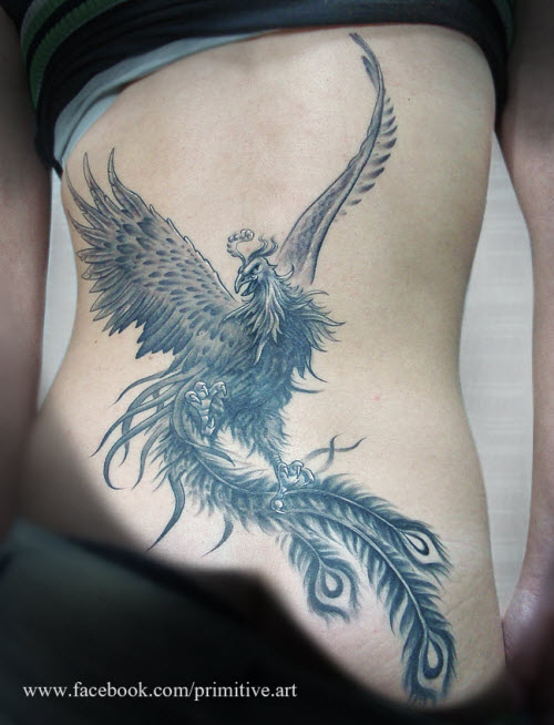 Тату птица феникс на животе фото - 2