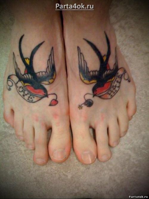 Тату птицы на ноге фото значение - 6