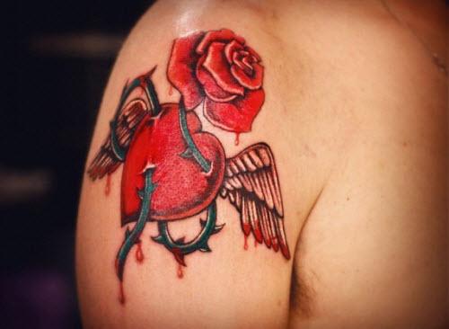 Тату роза и сердце фото - 1