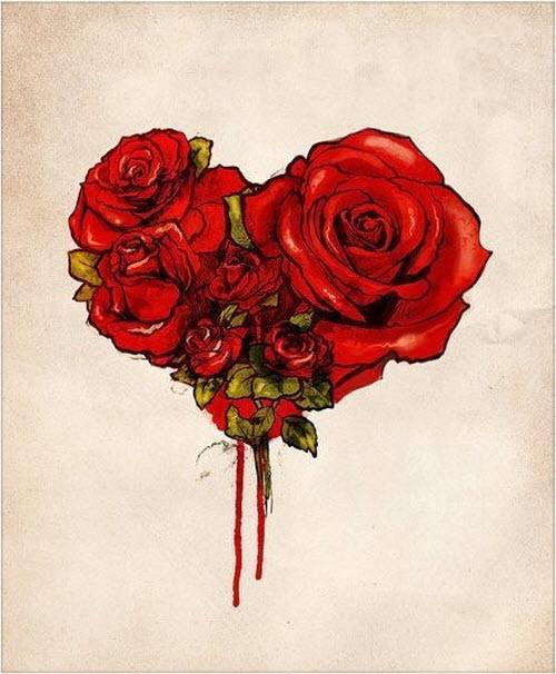 Тату роза и сердце фото - 8