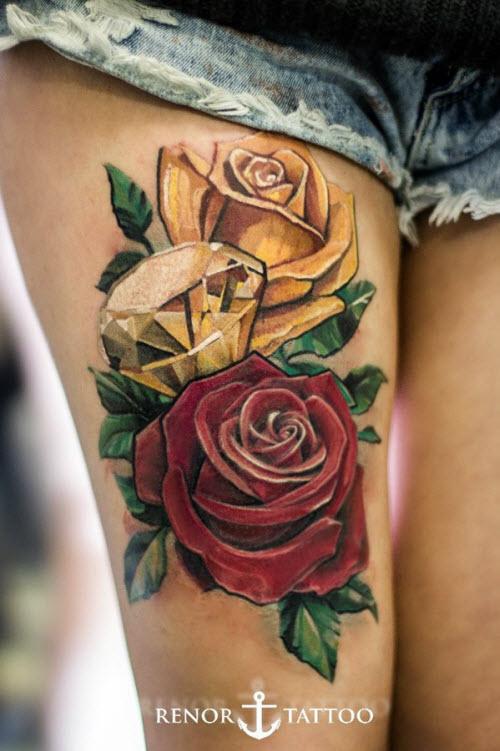 Тату роза цветная фото