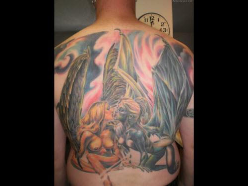 Тату с ангелами на спине фото - 3