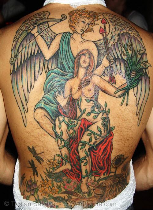 Тату с ангелами на спине фото - 7
