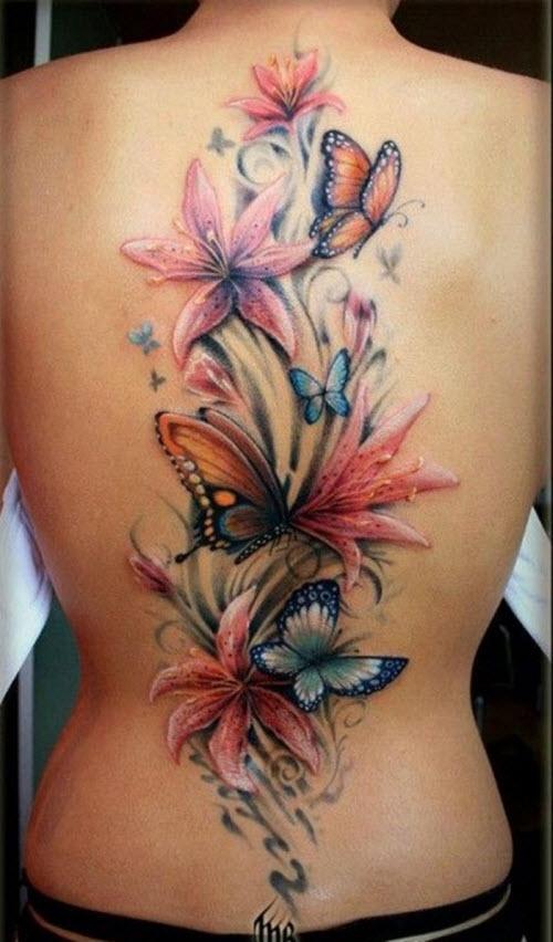 Тату с бабочками и цветами фото