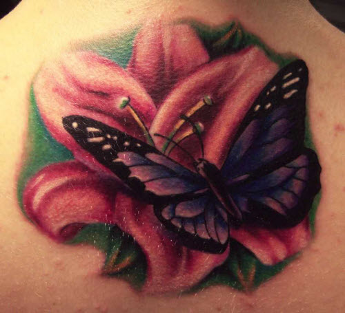 Тату с бабочками и цветами фото - 3
