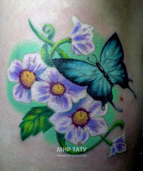 Тату с бабочками и цветами фото - 8