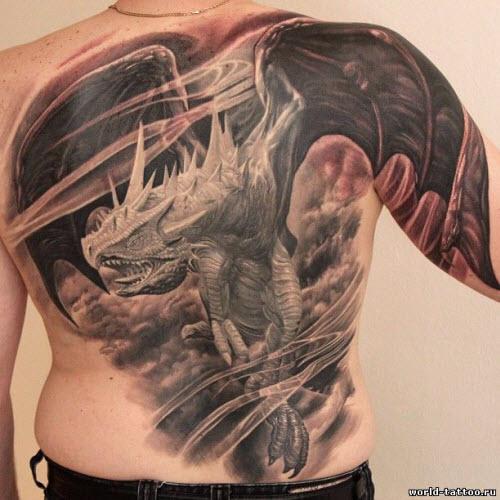 Тату с драконами на спине фото