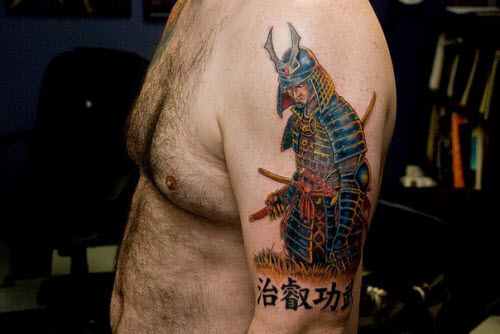 Тату самурай на плече фото - 8
